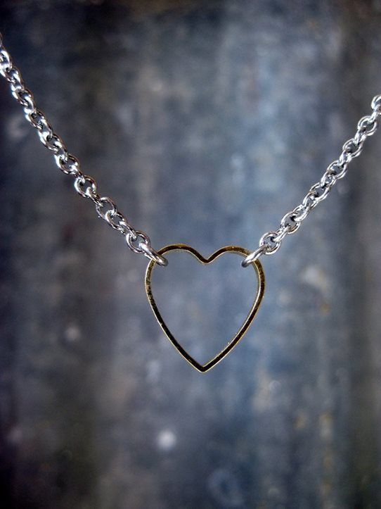 Pretty Birds Creations - Stainless Steel and Gold Heart Necklace from the Industrial Collection at prettybirds.co.nz