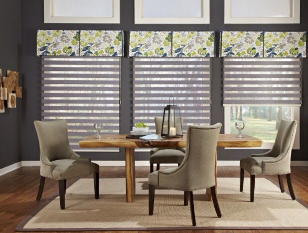 Dazzling Window Valance Ideas And Custom Designs: Adorable White And Gray  Modern Window Valance Ideas With Wing Upholstery Dining Chairs And Wooden  Dining ...