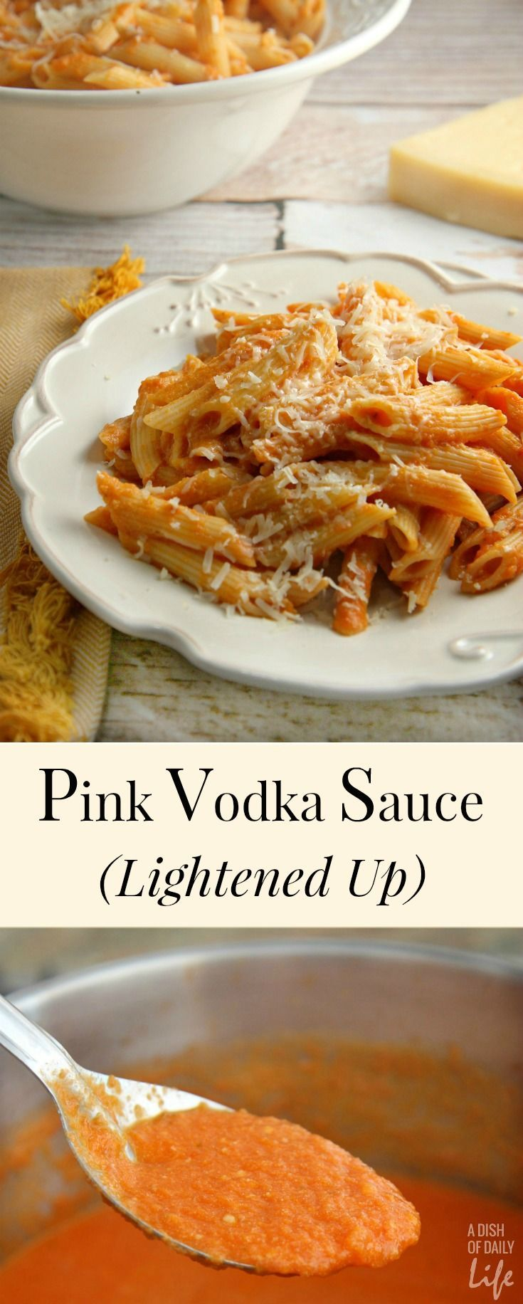This Lightened Up Pink Vodka Sauce recipe, served over pasta, is a delicious easy meal when you need to get dinner on the table fast! It makes enough sauce for two pounds of pasta, so freeze your leftover sauce for another night. Created for Cooking for a Cure for Breast Cancer Awareness Month.