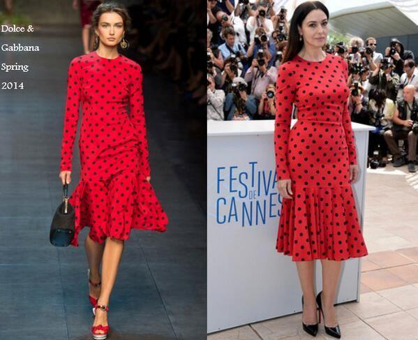 Monica Bellucci In Dolce & Gabbana - 'La Meraviglie' Cannes Film Festival Photocall. Re-tweet and favorite it here: https://twitter.com/MyFashBlog/status/468132265608740864/photo/1