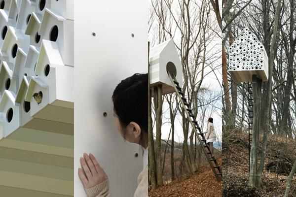 [imagem: bird-apartment, por nendo] Design de casa para alimentar pássaros: http://www.benitabrasil.com/post/detalhe/categoria/design/noticia/design-de-casa-para-alimentar-passaros