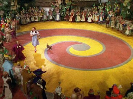 Dorothy starts her journey to the Emerald City at the spiral origin of the Yellow Brick Road. Description from mysteryoftheiniquity.com. I searched for this on bing.com/images