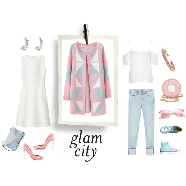 Glam city by luisa on Polyvore featuring moda, Uniqlo, Topshop, Chicnova Fashion, Zara, Converse, Christian Louboutin, GUESS, Stella & Dot and River Island