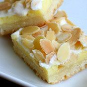 Cream Cheese Almond Bars Recipe at Cooking.com---shortbread crust with a pastry creme filling. Heavenly, if you are an almond lover. Also...toast the almond slices for a deeper flavor.