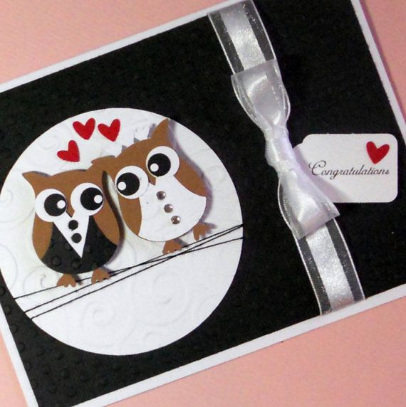 Personalized Wedding Card, Anniversary Card, Bridal Shower Card, Greeting Card, Handmade Card, Bride and Groom Owls Congratulations Card