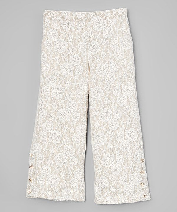 Look at this Wheat Floral Lace Pants - Infant, Toddler & Girls on #zulily today!