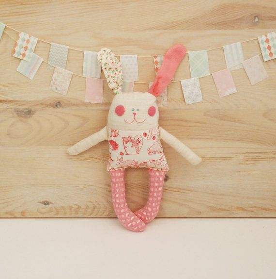 Stuffed Little Pink Rabbit Doll, Gift for Baby, Handmade Rag Doll, Soft Animal Toy Newborn, Gift for a Niece, FREE SHIPPING, Bunny Rabbit  Details :  Size: 22 cm (8.66 inches) tall Materiel : Cotton, Fiberfill  Hand made Sawing ♥ The dolls are handcrafted with love by Ula, our chief designer.  ♥ We guarantee that your child will love our dolls! Browse through our collection to see what we have to offer!  SOFT ANIMAL TOYS available here : http://etsy.me/1O8aMQJ  RAG DOLLS available here…