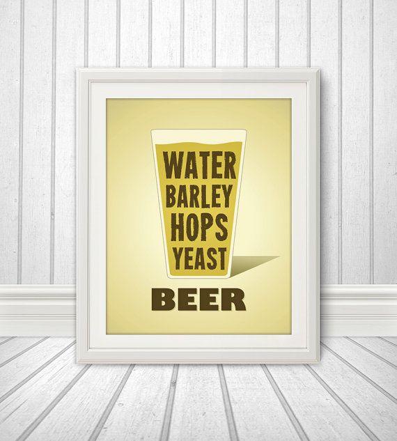 Beer Water Barley Hops Yeast Print, Beer Glass, Beer Print, Beer Poster, Beer Quote Print, Beer Art, Retro - 11x14