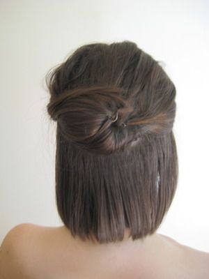 Use Goody Spin Pins for short hair/half up-do's