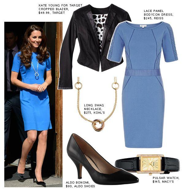Kate Middleton's blue dress - get the look!  #katemiddleton #celebrity #lookforless