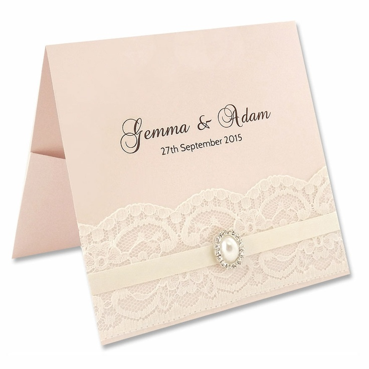 wedding invitation diy kits uk%0A Vintage Lace Flat Front Pocketfold Kit  Petal Pink Explore more DIY wedding  ideas