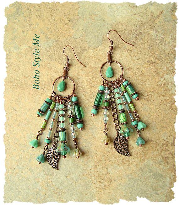 Boho Nature Inspired Earrings Bohemian Dangle Earrings