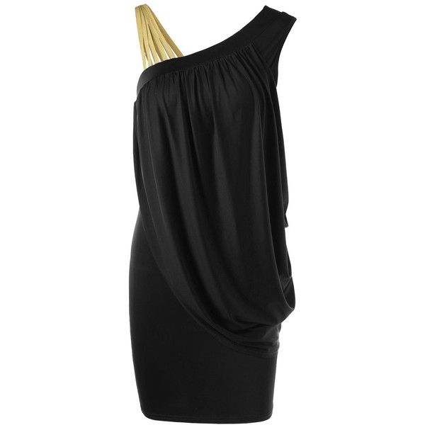 One Strap Skew Collar Slimming Drape Dress ($19) ❤ liked on Polyvore featuring dresses, single strap dress, draped dress, drapey dress, slimming cocktail dresses and collared dresses