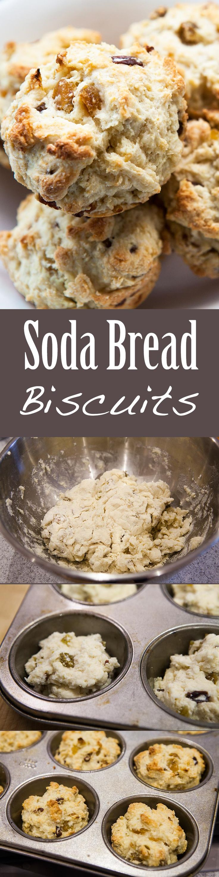 Soda Bread Biscuits! Like mini Irish soda breads, these biscuits are made with flour, baking soda, sugar, butter, and buttermilk. Add-ins like raisins and caraway seeds optional. Fun idea for St. Patrick's Day! On SimplyRecipes.com