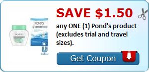 New Coupon!  Save $1.50 any ONE (1) Pond's product (excludes trial and travel sizes). - http://www.stacyssavings.com/new-coupon-save-1-50-any-one-1-ponds-product-excludes-trial-and-travel-sizes/