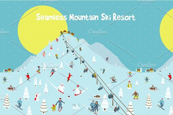 Cartoon Mountains Skyline Ski Resort by Popmarleo Shop on @creativemarket
