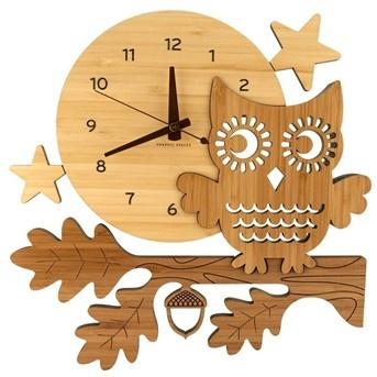 Night Owl Bamboo Wall Clock