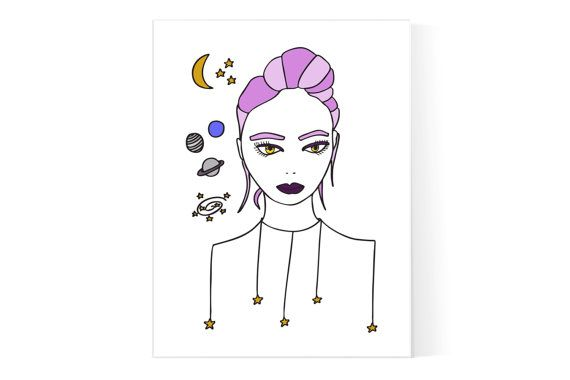 Cosmic Girl Poster / universo Print / Magic Girl illustrazione / spazio Poster / Witchy stampa / teenagers arredamento camera ragazza / adolescente regalo /