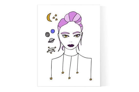 Cosmic Girl Poster / universo Print / Magic Girl illustrazione / spazio Poster / Witchy stampa / teenagers arredamento camera ragazza / adolescente regalo /