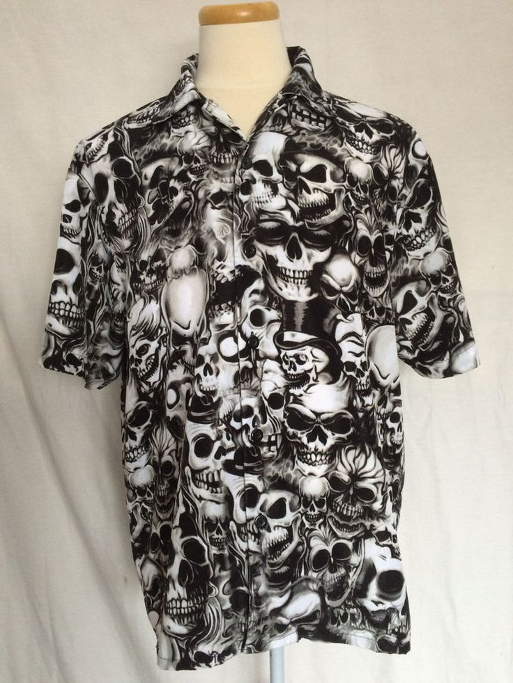 Sapphire Lounge Button Up Mens Shirt Sz Large 42/44 Skulls Gothic Black White #SapphireLounge #ButtonFront