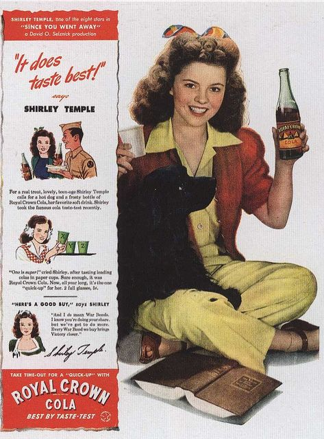 Shirley Temple in an ad for Royal Crown Cola 1944 by Silverbluestar, via Flickr