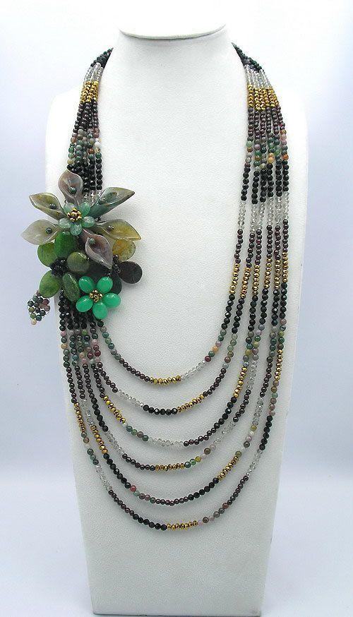 collar de abalorios, collar babero, declaración, regalos de Dama de honor, joyería moldeada, Strand collar con ágata granos de cristal cristalinos