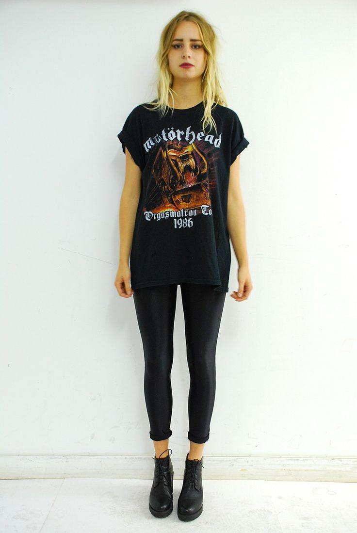 Black t shirt outfit - Mot Rhead Vintage Band T Shirt More More