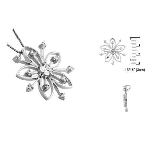 Sterling Silver Flower Pendant with CZ Avend Concepts. $30.95