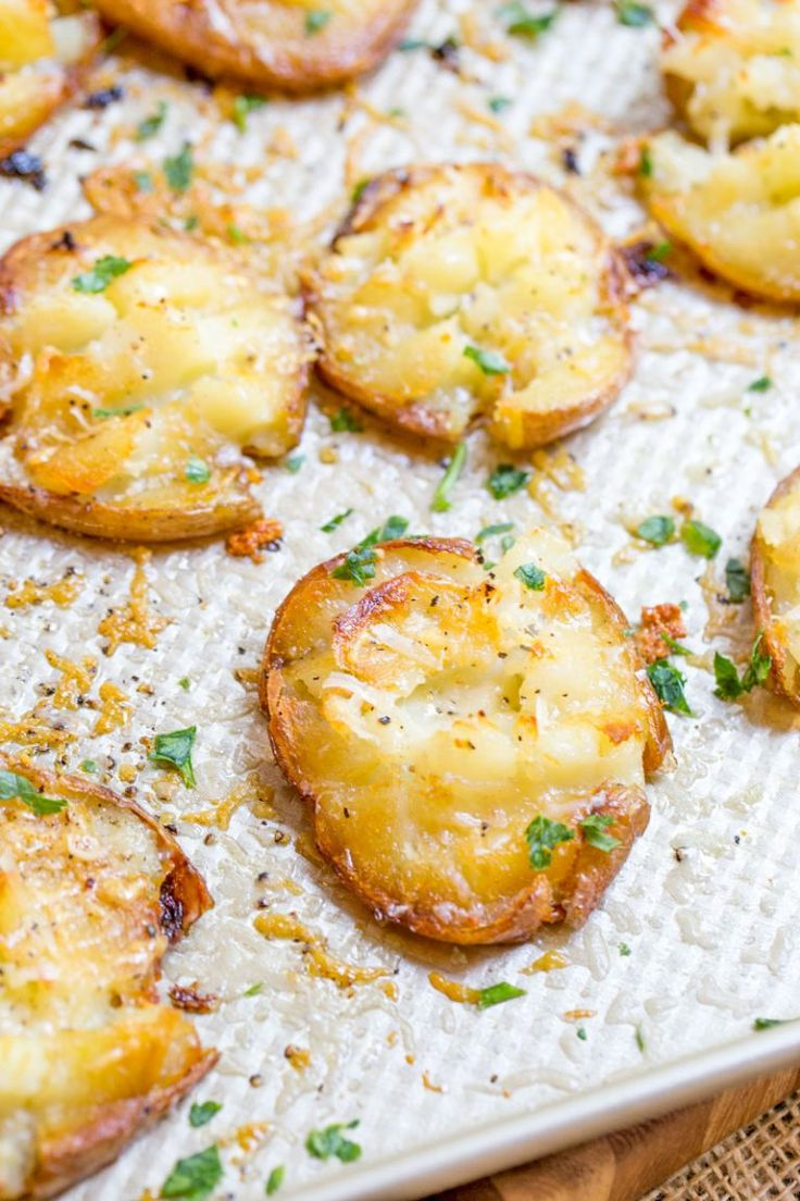 Parmesan Garlic Crash Hot Potatoes are crispy, creamy, cheesy and garlicky. Made in one pan, there is no boiling necessary and they make the perfect holiday side dish.