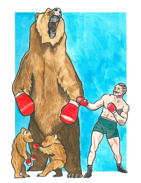 Old School Boxer Fighting Bears Tattoo Flash Art Print by OldeSoulsSundry
