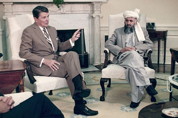 Reagan meets with Bin Laden. Jingoists conveniently forget the West's Cold War strategy was to arm the Islamic extremists that became al-Qaida