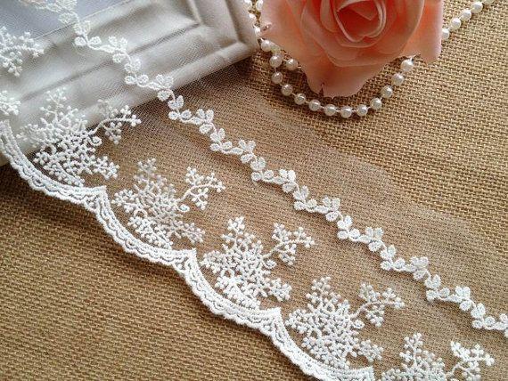Off White Lace Trim, abiti da sposa pizzo cotone Lace Trim, ricamato pizzo maglia, sposa pizzo, 2 cantieri