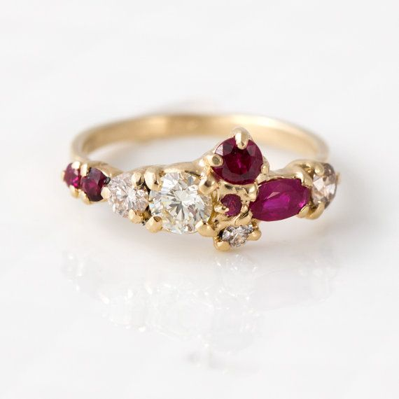 Red Ruby and Champagne Diamond Cluster Ring by MelanieCaseyJewelry