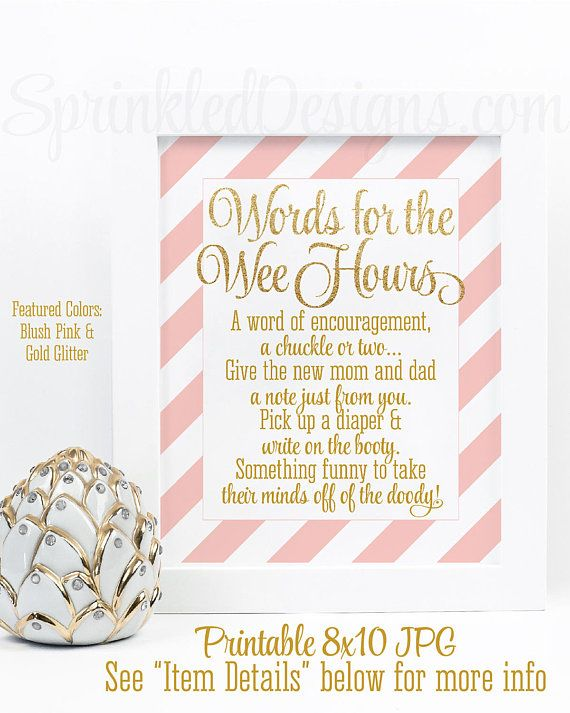 Baby Shower Games, Words For The Wee Hours, Words of Wisdom Late Night Diapers B…