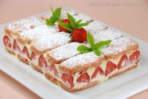 Fraisier aux biscuits roses : 1 paquet de biscuits roses de Reims (20 biscuits), 350 g de fraises, 250 g de mascarpone, 2 jaunes d'œufs, 80 g de sucre, 1 sachet de sucre vanillé, 12 cs de sirop de sucre de canne, 3 cs de rhum blanc, menthe, sucre glace.