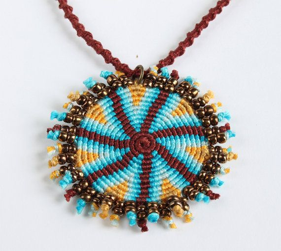 Ethnic macramè spiral necklace geometric brown by KnottedWorld