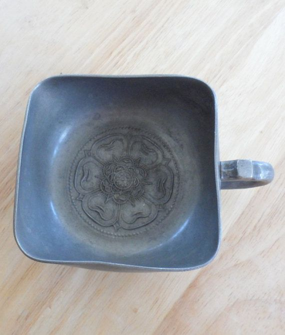 ANTIQUE PEWTER CUP/Square Pewter Cup/1930's Pewter by BYGONERA