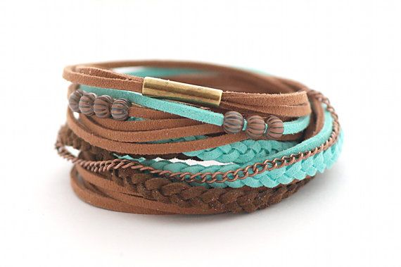 Wrap Bracelet, Boho Bracelet , Leather wrap, Mint Brown Boho bracelet, suede, double wrap, boho chic