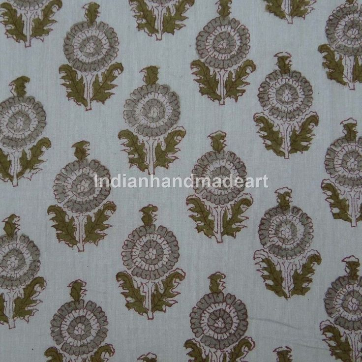 By The Yard Indian Hand Block Printed Natural Hand Dyed Cotton Dabu Print Fabric #Handmade