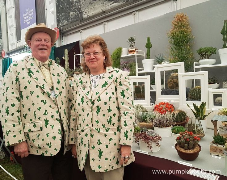 Stan Griffin and Vicki Newman from Craig House Cacti, pictured with their exhibit showing modern ways to display cacti and succulents in the home, at the RHS Chelsea Flower Show 2017.