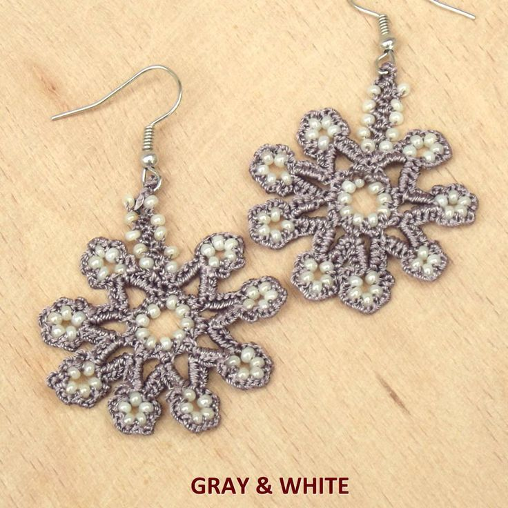 Turkish OYA Lace - Earring - Snowflake  *13 colors by DaisyCappadocia on Etsy