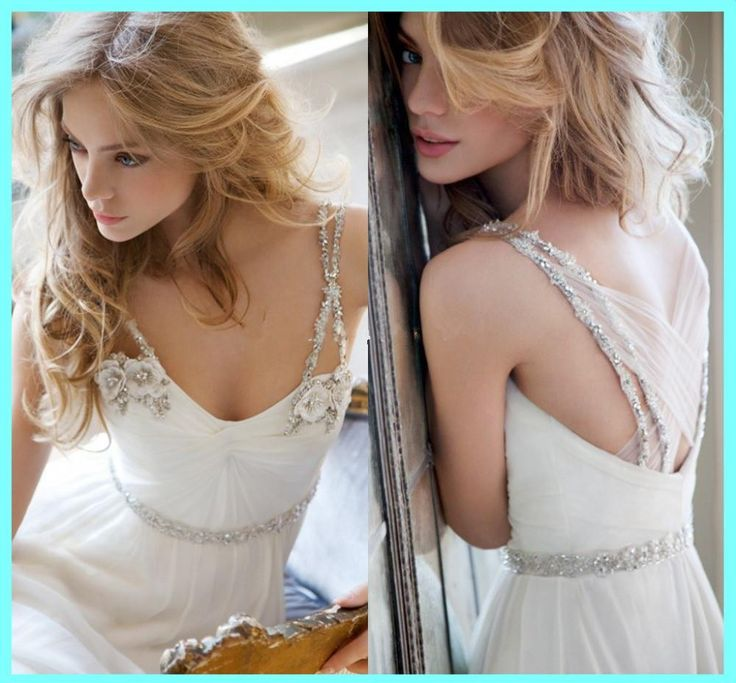2015 Beach Wedding Dresses Under 100 Spaghetti Strap Beads Crystal A Line Cheap Chiffon Bridal Gowns Chapel Train Backless Dress