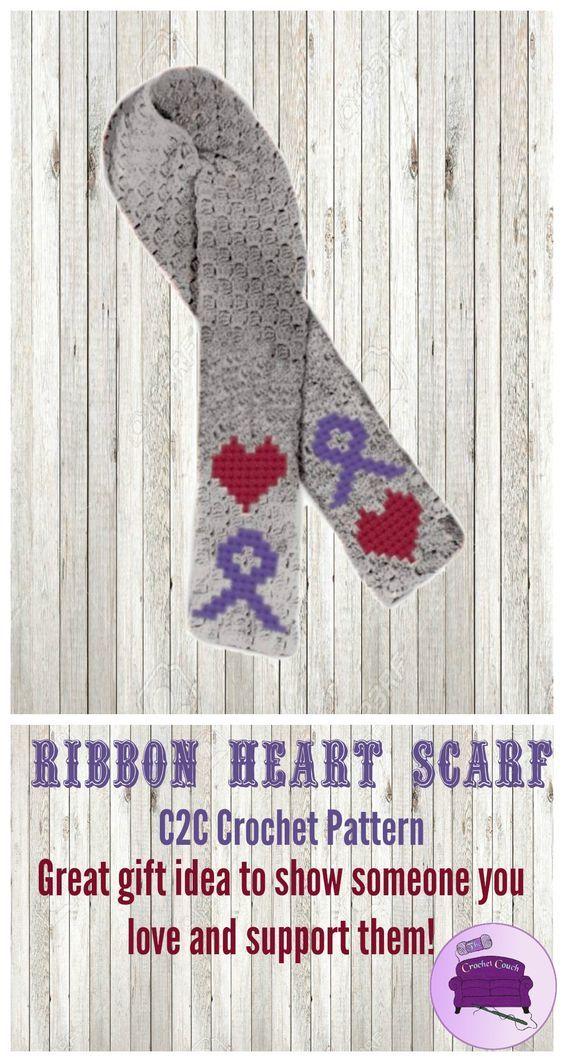Ribbon Heart Scarf C2c Crochet Pattern Crochet Pinterest