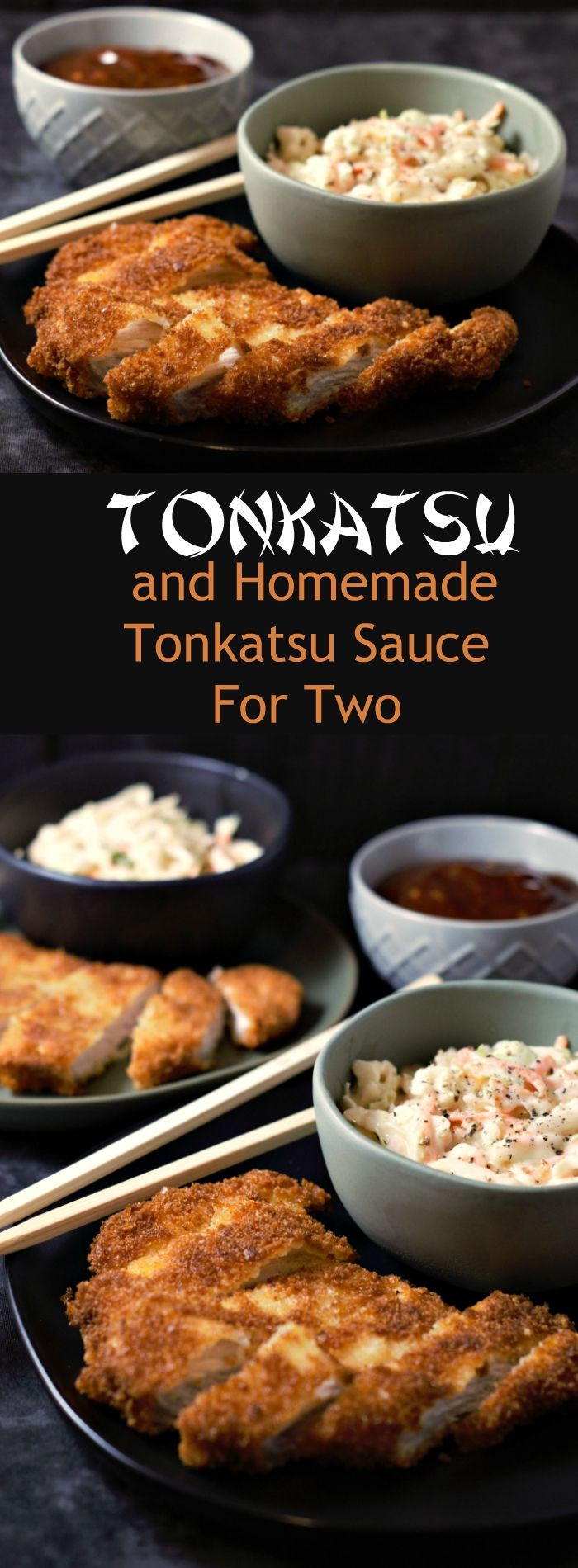 Tonkatsu and Homemade Tonkatsu Sauce for Two - This dish is super easy to make, delicious and satisfying. Tonkatsu is a Japanese dish which consists of a pork cutlet coated in Panko (Japanese bread crumbs) fried, then topped with Tonkatsu sauce. This homemade sauce is tangy and delicious. You can also use chicken instead of pork using this same recipe. Great for dinner, lunch, or date night! #tonkatsu #TonkatsuSauce #homemade #pork #chicken #DinnerForTwo #LunchForTwo #RecipesForTwo