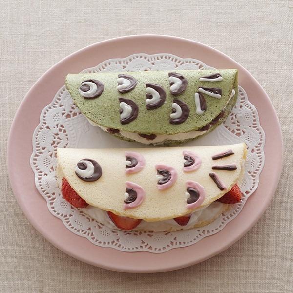 抹茶+粒あん、プレーン+いちごの2色のオムレット。/こいのぼりのかわいいレシピ(「はんど&はあと」2012年5月号)