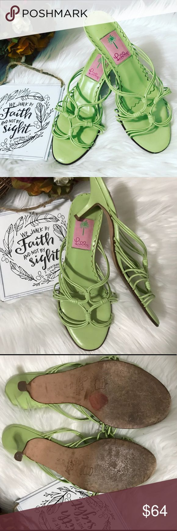 Lilly Pulitzer Green Strappy Kitty Heels Sz 6.5 M Lilly Pulitzer green Strappy kitty heels, made in Italy leather sole. Fun tropical color to pair with your unique and fun Lilly Pulitzer pieces or to simply add some style to your outfit. This shoes make me wish summer was here to pair them with some white jeans and a airy sheer off the shoulder top, straw handbag and some dainty jewelry. Over all they are in great condition, some small markings on the heels and some adhesive residue on the…