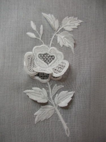 Beautiful whitework flower using mixed embroidery techniques