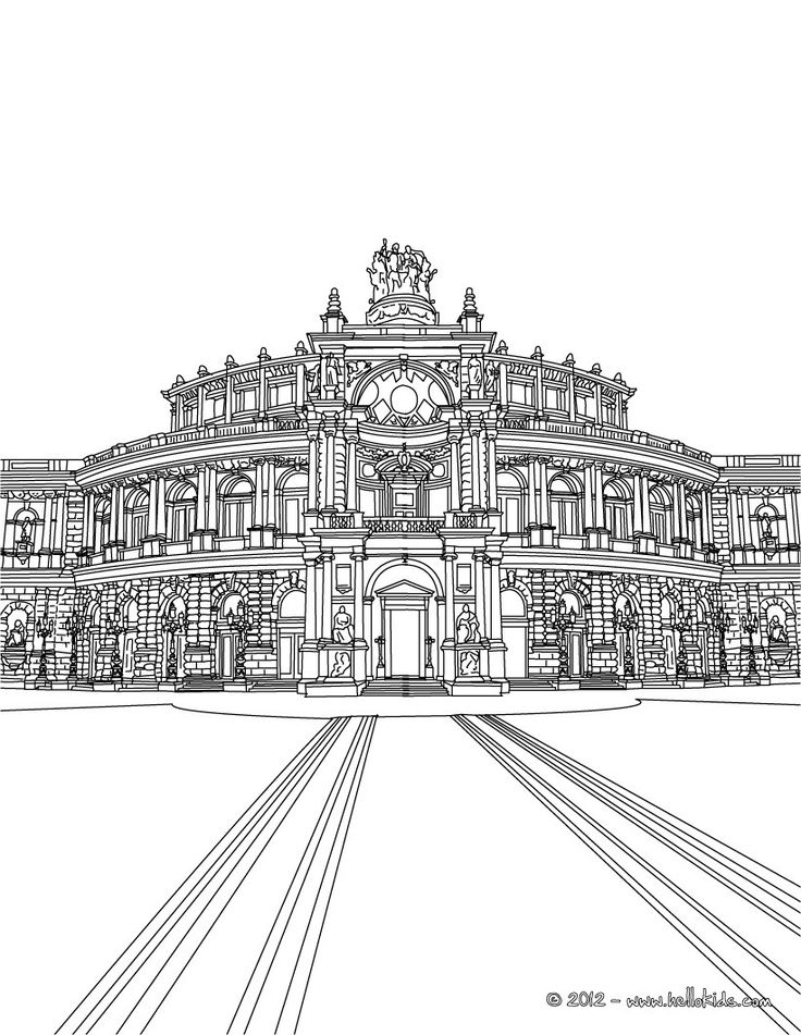 dresden semperoper famous places in germany coloring page adult colouring buildings houses. Black Bedroom Furniture Sets. Home Design Ideas