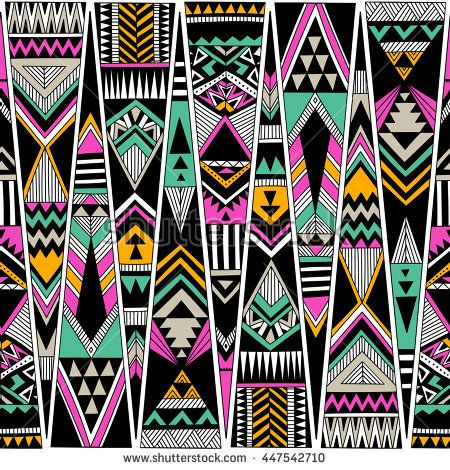 multicolor tribal Navajo vector seamless pattern. aztec fancy abstract geometric art print. ethnic hipster backdrop. Wallpaper, cloth design, fabric, paper, cover, textile, weave, wrapping. Hand drawn