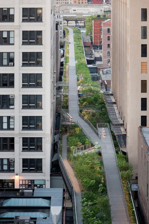 The High Line Linear park built on an abandoned section of elevated rail road track through NYC